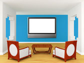 Home theater with luxurious chairs and wooden table — Stock Photo