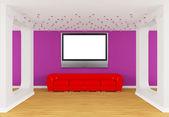赤いディバン フラット テレビとモダンなギャラリー ホール — ストック写真