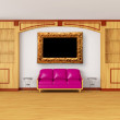 Bookcase with purple couch, metallic tables and picture frame in — Stock Photo