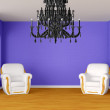 Modern room with luxurious armchairs and black chandelier - ストック写真
