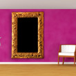 Gallery with luxurious chair, ornate frame and black chandelier — Stock Photo #8903752