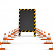 Stock Photo: Under construction. wooden board with traffic cones.