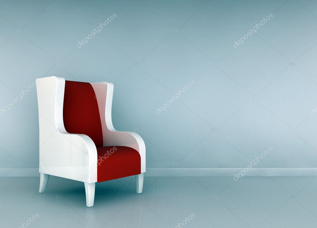 Alone blue chair in minimalist interior — Stock Photo #8983559