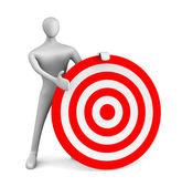 3d uomo con target rosso — Foto Stock