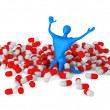 Happy 3d man among pills — Stock Photo
