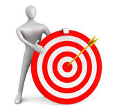 3d man with red target and golden arrow — Stock Photo