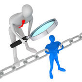3d person watching 3d man holding a chain together — Stock Photo