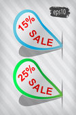 Vector curved sale labels on stripped background — Stock Vector