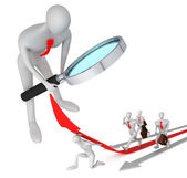 3d person watching on 3d man with help on the red arrow and his — Stock Photo