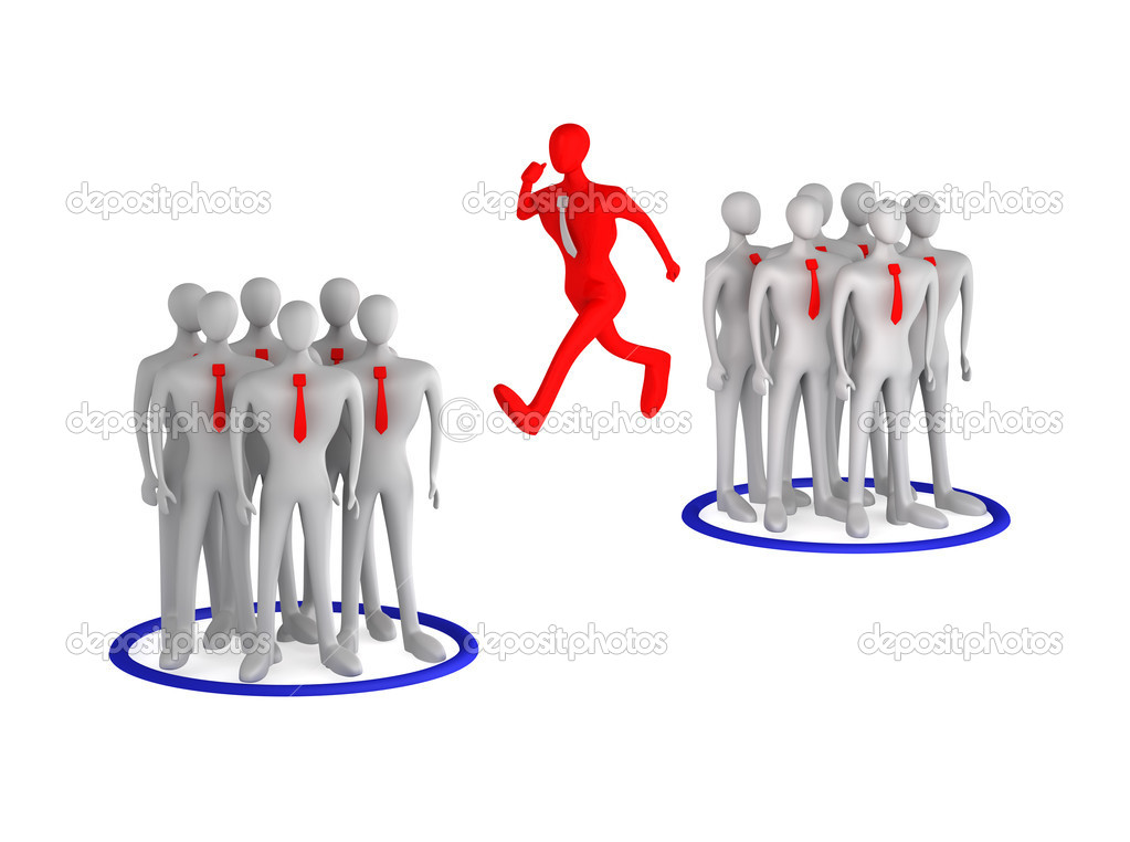 3d man jumping from one team to another — Stock Photo #9205221