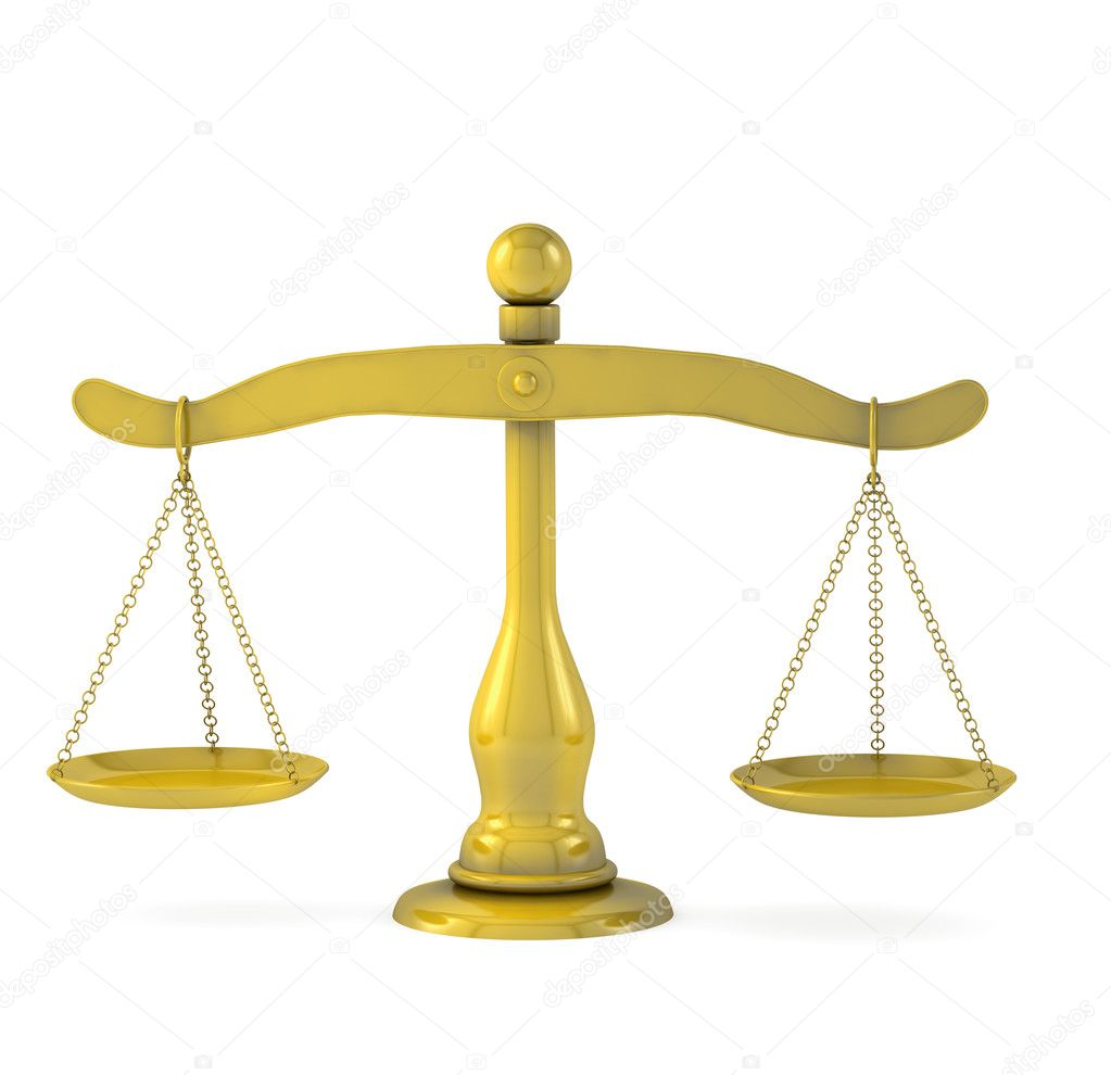 Golden scales of justice on a white background  Stock Photo #9207271