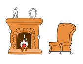 Kominek z krzesłem — Wektor stockowy