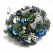 Stock Photo: Christmas decoration with the twigs of the spruce and baubles