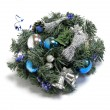 Christmas decoration with the twigs of the spruce and baubles — Stock Photo