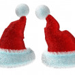 Santa's red hats isolated on white background — Stock Photo