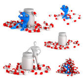 Set of 3d unhealthy man with spills and bottle on a white backgr — Stock Photo
