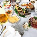 Fresh salads and fish — Stock Photo