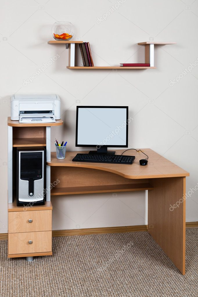 Computer and printer on the desk in the office  Stock Photo #10708260