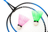 Racket and shuttlecock badminton — Stock Photo