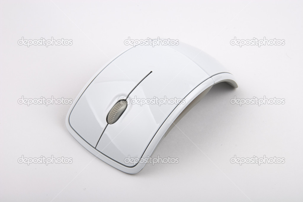 White modern computer mouse isolated on white background  Stock Photo #10007487