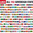 All 192 Sovereign States - World Flags Series — Stock Vector