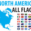 North America All Flags — Stock Vector