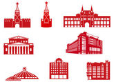Moscow Buildings Icons — Stock Vector
