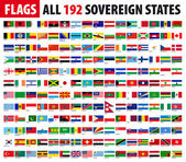 All 192 Sovereign States - World Flags Series — ストックベクタ