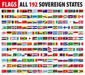 Tous les 192 états souverains - monde drapeaux série — Vecteur