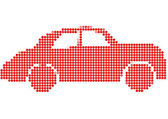 Dot Style Illustration of Red Car — Stock Vector
