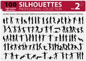 100 vector silhouetten professionele collection vol. 2 — Stockvector