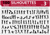 100 silhuetter professionell collection vol. 3 — Stockvektor
