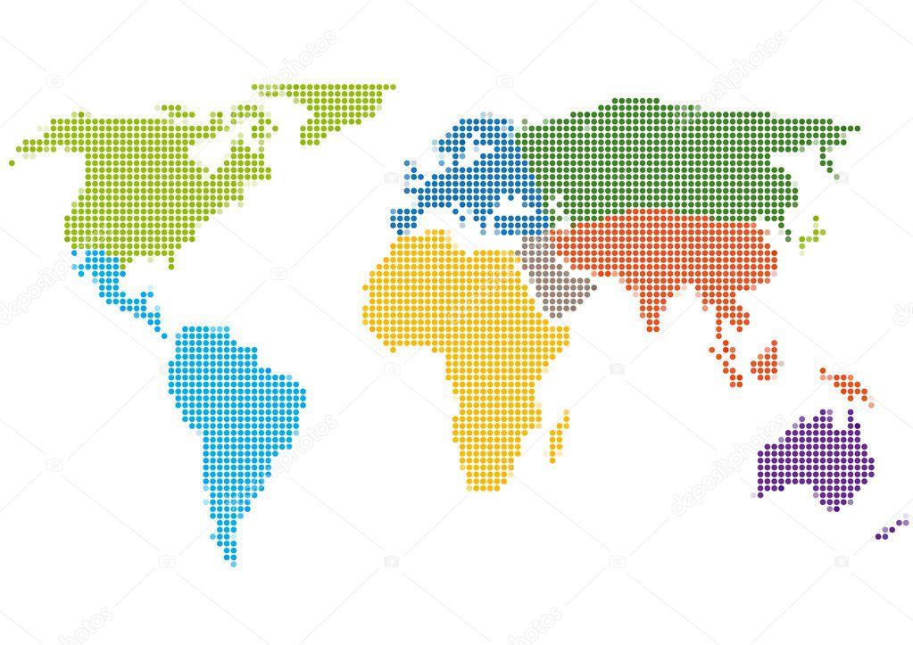 点样式与各大洲的世界地图 — 图库矢量图像08 mega