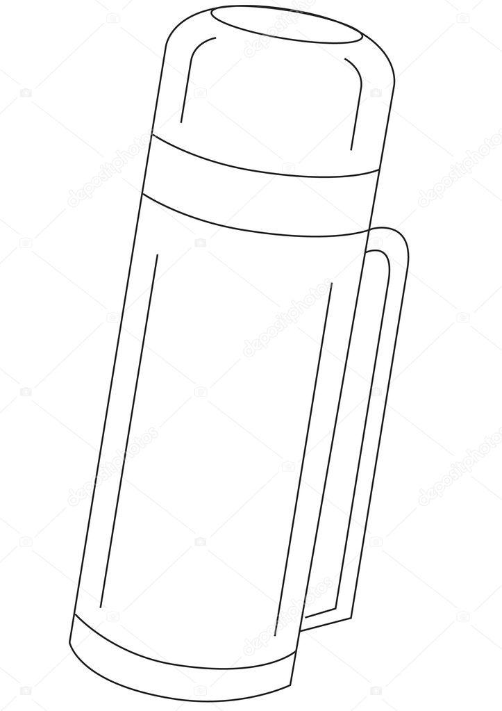 封闭的矢量热水瓶-轮廓轮廓图 — 矢量图片作者 megastocker