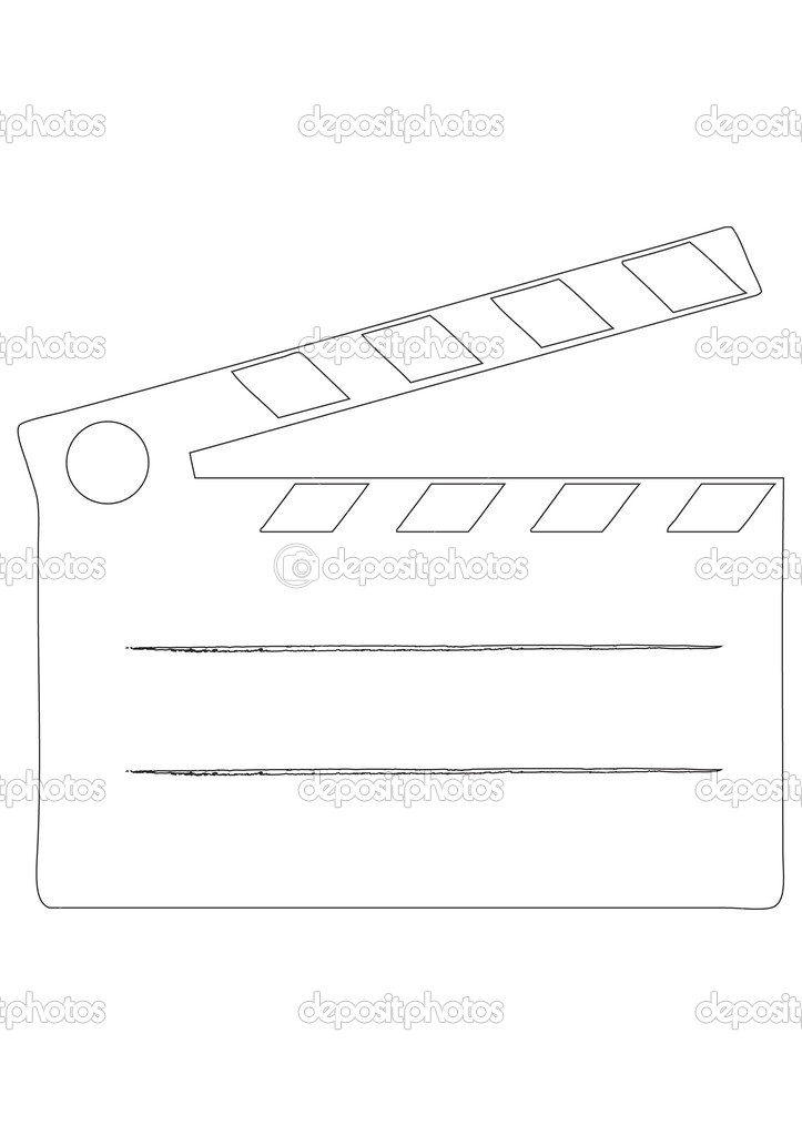 Film clap board cinema - contour vector illustration — Stock Vector #10486251