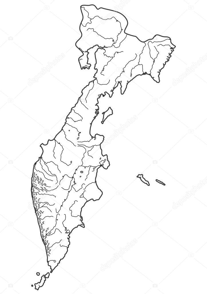 俄罗斯堪察加半岛-矢量轮廓图的地图– 图库插图