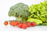Fresh Raw Broccoli, Cheery tomatoes — Stock Photo