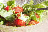 Salad with cheery tomatoes and green leaves — Stock Photo