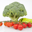 Stock Photo: Fresh Raw Broccoli, Cheery tomatoes