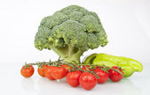 Fresh Raw Broccoli, Cheery tomatoes — Stock Photo