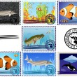 Postage stamps. Fish. — Stock Vector