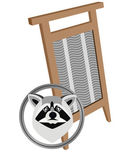 Raccoon and board washing — Stock Vector