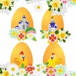 Wildflowers and Easter eggs - Stock Vector