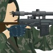 Постер, плакат: Sniper and sniper scope