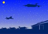 Gece havaalanı — Stok Vektör
