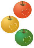 Apples with a heart — Stock Vector