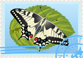 Postage stamp with a butterfly — Cтоковый вектор