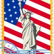 Royalty-Free Stock Vector Image: Postage stamps with the flag and the Statue of Liberty