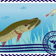Postage stamp. The hunt for pike. — Stock Vector