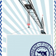 Postage stamp. The construction crane — Stock Vector